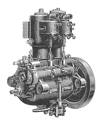 Crankcase - De Dion-Bouton engine from about 1905, in which can clearly be seen a discrete crankcase with upper and lower halves (each a casting), with the bottom half constituting both part of the main bearing support and also an oil sump.