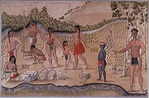 Culture of the Choctaw - De Batz, 1735, watercolor paintings of southeastern and northern Indians and an African descendant child.