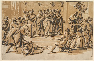 Death of Ananias, chiaroscuro woodcut in three blocks by Ugo da Carpi, 1518 (state without the copyright inscription). Death of Ananias MET DP819933.jpg