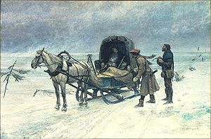 Sten Sture the Younger - The Death of Sten Sture the Younger on the ice of lake Mälaren. Painting by Carl Gustaf Hellqvist (1880).