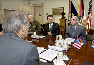 Hayk Kotanjian - Armenian Minister of Defense Serzh Sargsyan (right) meets with Secretary of Defense Donald H. Rumsfeld (foreground) to discuss security related issues of mutual interest to both nations in the Pentagon on Oct. 28, 2005. Military Advisor to the Minister of Defense Gen-Maj Hayk Kotanjian (left-center), and Ambassador Tatoul Markarian (center) joined Sargsyan and Rumsfeld for the talks.