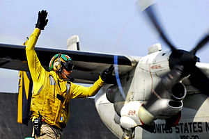 Defense.gov News Photo 110630-N-GL340-109 - U.S. Navy Lt. Jerrod Washburn signals the launch of a C-2A Greyhound from the aircraft carrier USS Ronald Reagan CVN 76 in the Arabian Sea on June.jpg