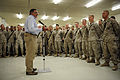 Defense.gov News Photo 110710-F-RG147-603 - Secretary of Defense Leon E. Panetta speaks to U.S. Marines assigned to Combat Logistics Battalion-7 at Camp Dwyer, Afghanistan, on July 10, 2011.jpg