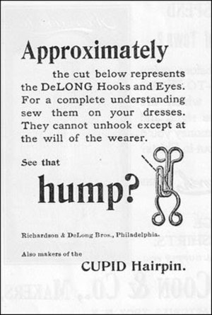 Hook-and-eye closure - Image: Delong Hook Eye 1896