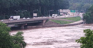 Delaware Water Gap Toll Bridge - A view of the New Jersey side of the Delaware Water Gap Toll Bridge during a flood on June 29, 2006