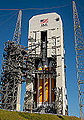 Delta IV-H with EFT-1 at CCAFS-37B prior to tower rollback (201412030003HQ).jpg