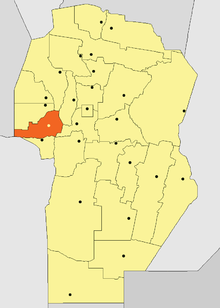 Location o San Alberto Depairtment in Córdoba Province
