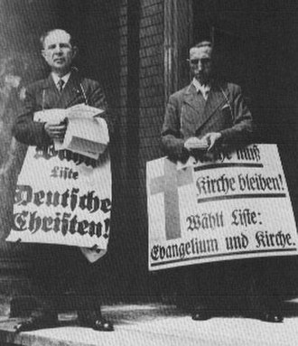 Evangelical Church in Germany - Synodal elections 1933: German Christians and Confessing Church campaigners in Berlin.