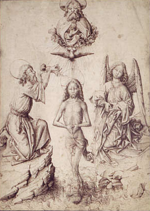 Master E. S. - Baptism of Christ a drawing attributed to Master E. S., Louvre