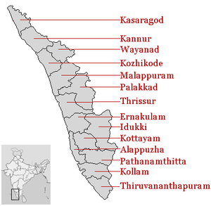 Districts of Kerala, India