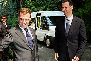 Russia–Syria relations - Bashar Al Assad with Russian President Dmitry Medvedev whilst on a visit to Sochi in August 2008.