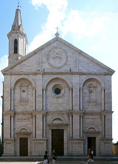 Façade of the Cathedral of Pienza.