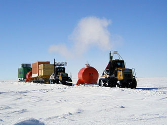 Concordia Station - Part of a traverse, which was bringing fuel, food, and other supplies from Dumont d'Urville to Dome C (January 2005)