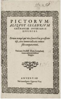 Dominicus Lampsonius, Pictorum aliquot celebrium Germaniae inferioris effigies - title page.tiff