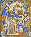 Don Silvestro dei Gherarducci - Gradual 1 for San Michele a Murano - God the Father Presenting the Infant Christ to a group of Saints in an Initial A (Victoria and Albert Museum, London, MS 434, no. I 30-A).jpg
