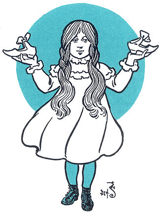 Dorothy Gale - Dorothy with the silver shoes (illustration by W. W. Denslow)
