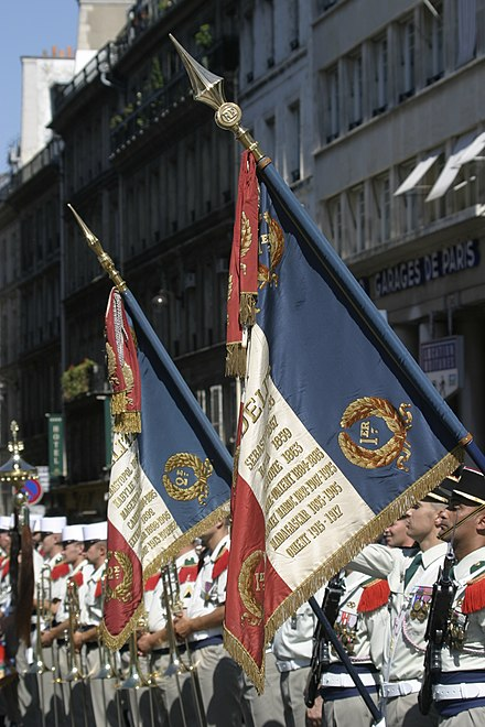 Regimental flags of the 1st Foreign Regiment and 2nd Regiments in Paris, 2003. Drapeaux 1RE et 2REI Paris 2003.jpg