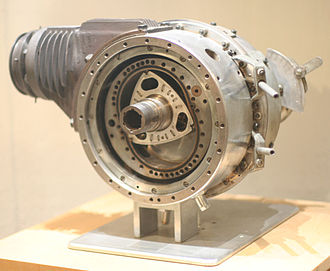 Wankel engine - The first DKM Wankel engine designed by Felix Wankel, the DKM 54 (Drehkolbenmotor), at the Deutsches Museum in Bonn, Germany: the rotor and its housing spin