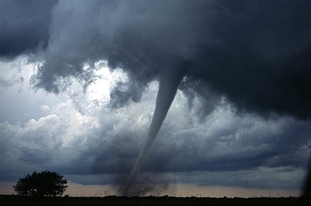 A tornado near Anadarko, Oklahoma, 1999. The funnel is the thin tube reaching from the cloud to the ground. The lower part of this tornado is surrounded by a translucent dust cloud, kicked up by the tornado's strong winds at the surface. The wind of the tornado has a much wider radius than the funnel itself. Dszpics1.jpg