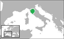 The Duchy of Florence (green) in 1557