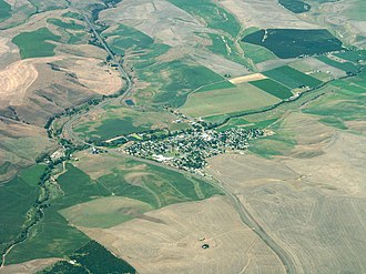 Dufur, Oregon - Aerial view of the city