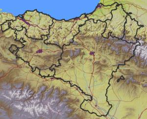 San Kristobal gotorlekua non dagoen adierazten duen Euskal Herriko mapa