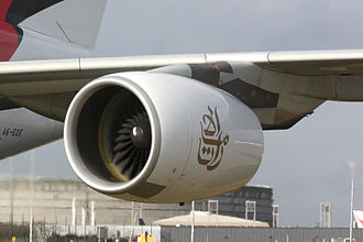 Emirates (airline) - The logo in Arabic on one of the engines of an Airbus A380
