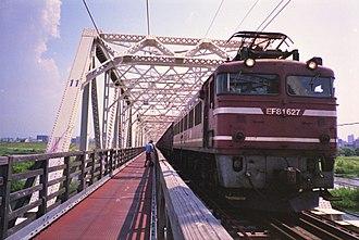 Osaka Higashi Line - Image: EF81 627 Akagawa