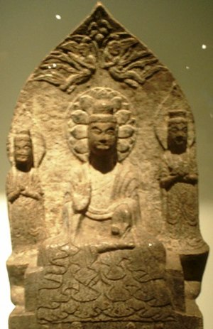Eastern Wei - Buddha triad, Eastern Wei (534-550), China.