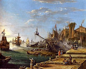 "Figurative art - Ein Meerhafen (""A Seaport""), a figurative landscape by the Austrian artist Johann Anton Eismann (1604–1698), which depicts buildings, people, ships, and other features that can be distinguished individually; by contrast, the abstract landscape below suggests its subject matter without directly representing it"