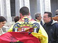 El Valle de los Caidos, Spain, visitors sporting a flag of Spain under Francisco Franco (2).jpg