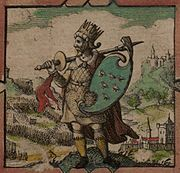 "Imaginary depiction of Ælle from John Speed's 1611 ""Saxon Heptarchy""."