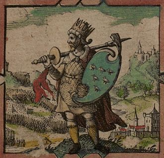 "Kingdom of Sussex - Depiction of Ælle holding a shield with a design representing Sussex, taken from John Speed's 1611 ""Saxon Heptarchy"""