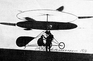 Jacob Ellehammer - 1914 photo of Ellehammer's coaxial helicopter hovering
