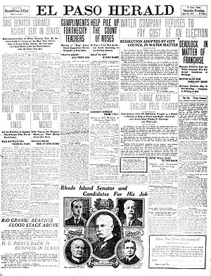 El Paso Herald-Post - Front page of the El Paso Herald. April, 30, 1910.
