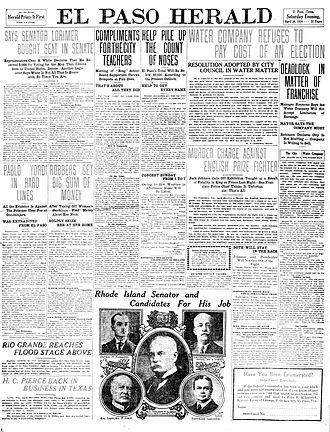 El Paso Herald-Post - Front page of the El Paso Herald. April, 30, 1910.