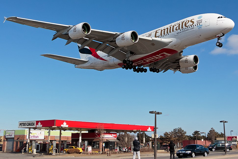 Emirates Airbus A380 on finals to runway 23 at Toronto Pearson