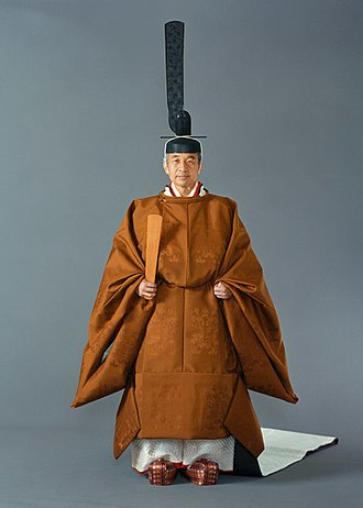 Akihito - Emperor Akihito wore the sokutai at the enthronement ceremony on November, 1990