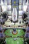 Encapsulated GSAT-7A being integrated with GSLV F11 launch vehicle.jpg