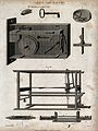 Engineering; a lock, showing the key, and a loom, with shutt Wellcome V0024570.jpg
