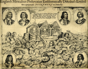 "Inscription depicting two houses of Parliament and the Westminster Assembly on an ark. Various figures are drowning in the flood. Portraits of other figures surround the scene. ""Englands Miraculous Salvation Emblematically Described, Erected for a perpetual Monument to Posterity"" is printed above."