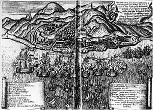 Battle of La Guaira - Engraving of the attack by the British fleet on La Guayra (1743)
