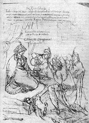 "Georgian feudalism - ""Entertainment of a Georgian princess"" (17th century). A drawing from Cristoforo Castelli's travel notes."