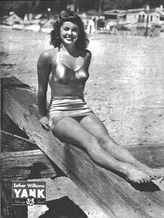 Esther Williams - A pin-up of Williams from a 1945 issue of Yank, the Army Weekly