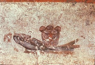 Catacombs of Rome - The fish and loaves fresco, Catacombs of San Callisto