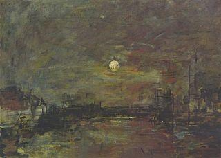 Crépuscule sur le bassin du Commerce au Havre