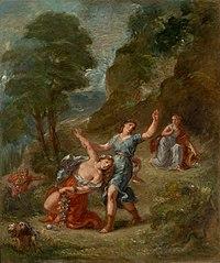 A primavera - Eurídice colhendo flores é mordida por uma cobra (a morte de Eurídice) - as quatro estações de Hartmann