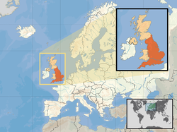 Location of  England  (orange)– in the European continent  (camel & white)– in the United Kingdom  (camel)