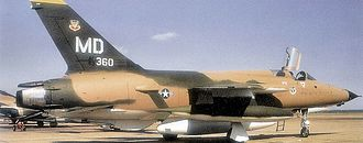 """23rd Wing - F-105F-1-RE Thunderchief, AF Serial No. 63-8360 of the 561st Tactical Fighter Squadron, McConnel AFB, Kansas - 1970. This aircraft was later converted to the F-105G """"Wild Weasel"""" configuration. It was hit by flak over North Vietnam on 17 September 1972 and crashed at sea."""
