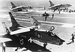 F8U-2 Crusaders of VF-84 on USS Independence (CVA-62) c1960.jpg